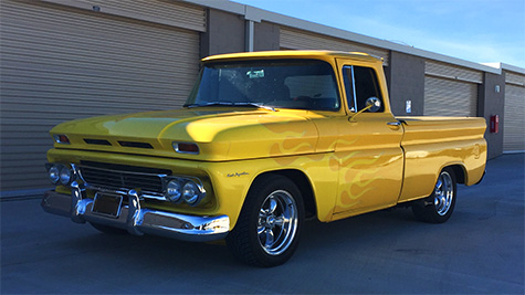63 Yellow Chevy C-10 with flames