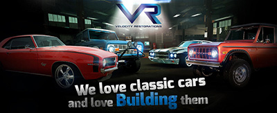 Velocity Restorations logo with vehicles