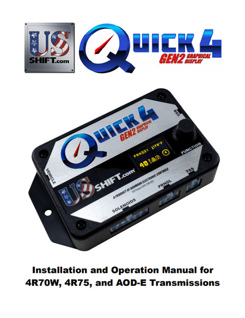 Quick 4 4r70w installation manual