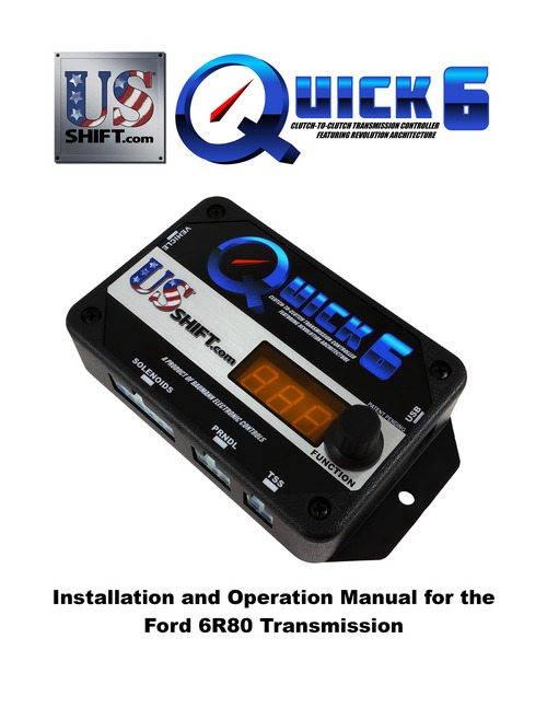 Quick 6 6r80 installation manual